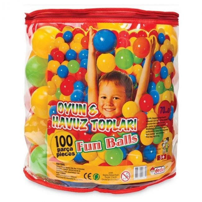 Színes műanyag labda, 100 darabos