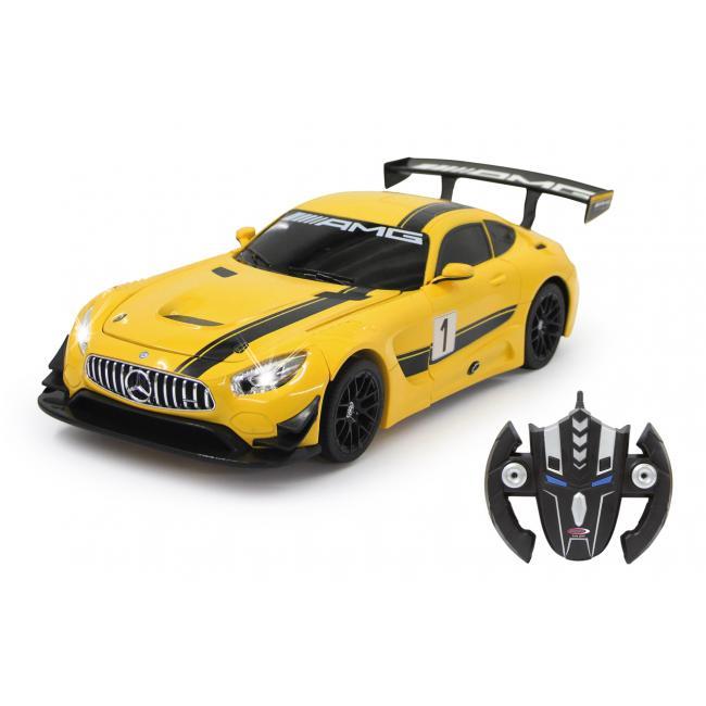 Távírányítós transformer kisautó - Mercedes-AMG GT3 1:14 fénnyel és hanggal, sárga 410029 Jamara