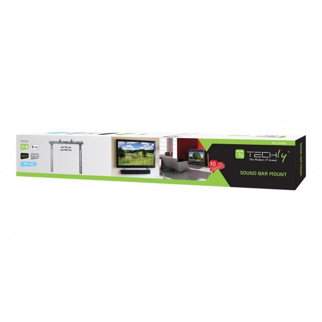 Techly 020683 állítható Sounbar hangszóró tartó, VESA 10 kg, fekete