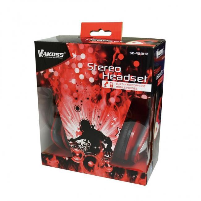 VAKOSS sztereó mikrofonos fejhallgató hangerőszabályzóval SK-428HR Fekete 3560245e47